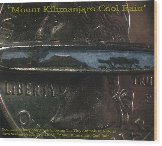 Mount Kilimanjaro Cool Rain  Wood Print