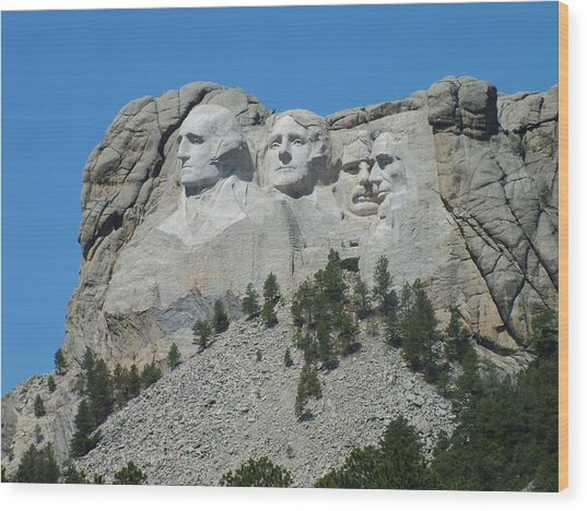 Mount Rushmore From A Different View Wood Print