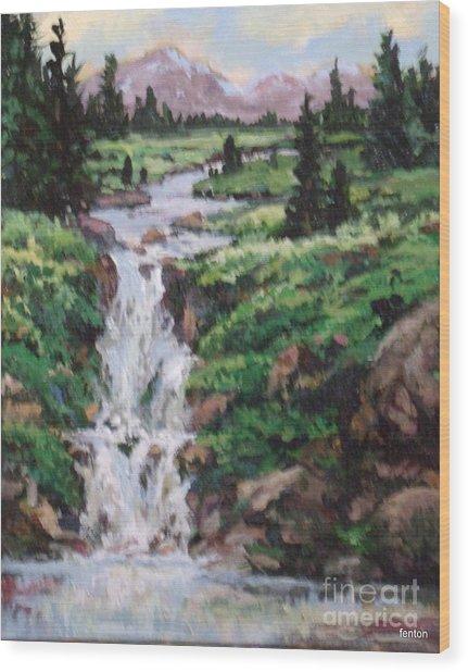 Mountain Cascade Wood Print by W  Scott Fenton