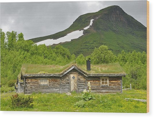 Mountain House Wood Print by Conny Sjostrom