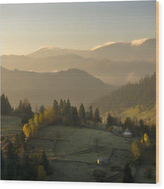 Mountain Landscape Wood Print by Ovidiu Bastea
