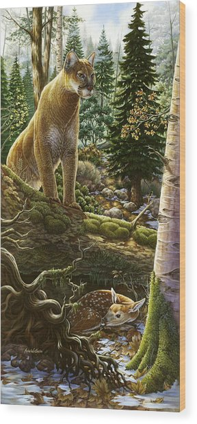 Mountain Lion With Fawn Wood Print