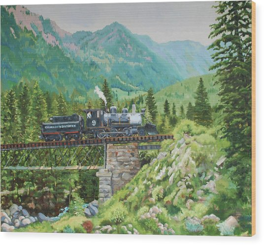 Mountain Railroad Wood Print