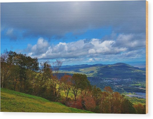 mountain sky Quebec Wood Print by Josee Dube