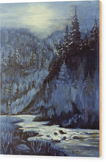 Mountain Stream In Moonlight Wood Print