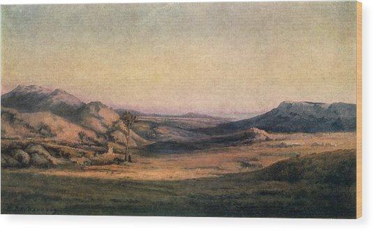 'mountainous Countryside' Painting By Edmond Barbazzona Wood Print by Photos.com