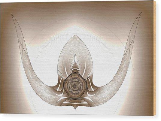 Wood Print featuring the digital art Mounted Bull Horns by Visual Artist Frank Bonilla