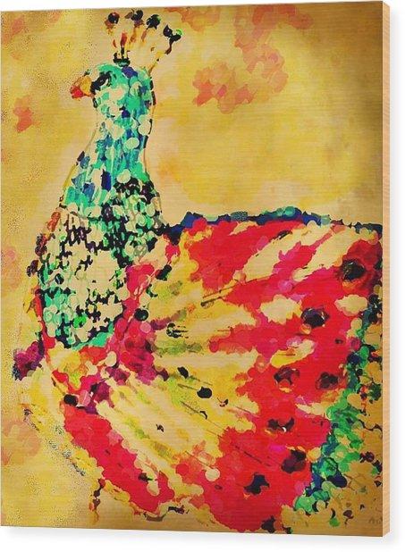 Mprints - Pretty  Peacock Wood Print
