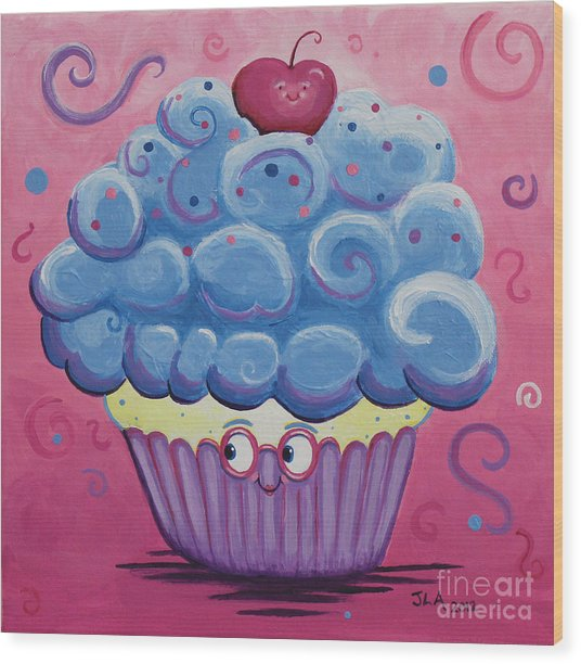 Mrs. Blue Cupcake Wood Print by Jennifer Alvarez