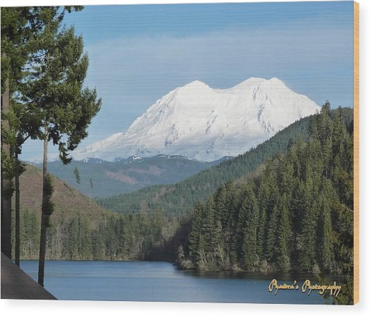 Mt. Rainier From Mineral Lake Wood Print