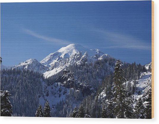 Mt. Rainier In Contrast Wood Print