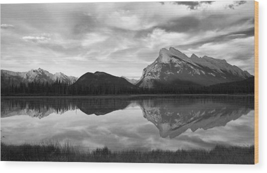 Mt. Rundel Reflection Black And White Wood Print by Andrew Serff