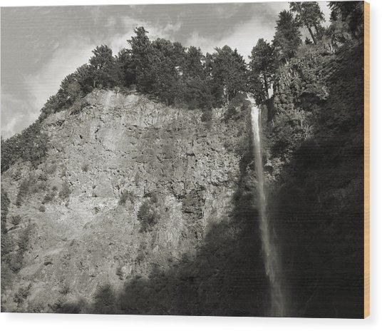 Multnomah Falls Cliff Face Wood Print
