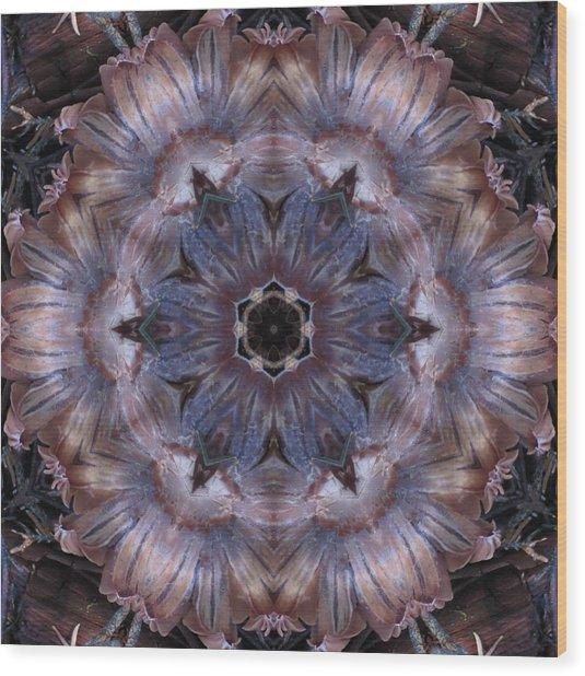 Mushroom With Blue Center Wood Print