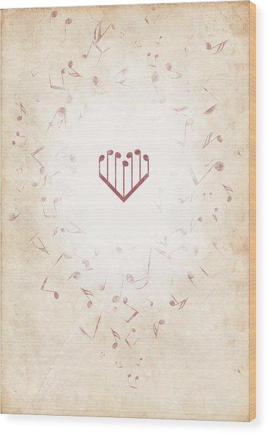 Music Heart Warm Wood Print by Luka Balic