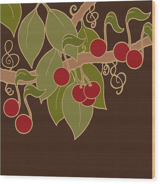 Musical Cherries Wood Print