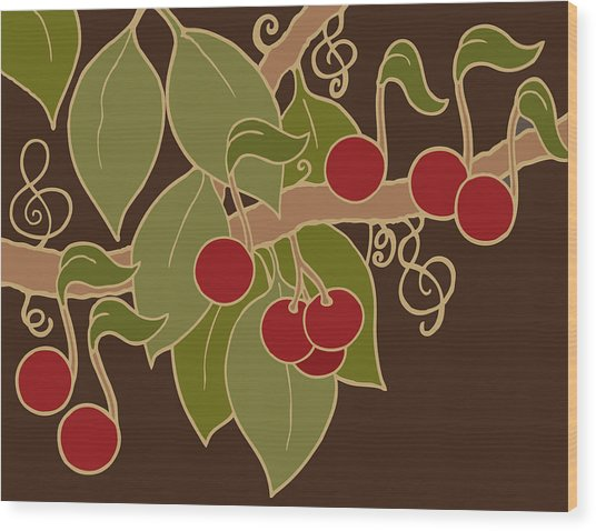 Musical Cherries Rectangle Wood Print