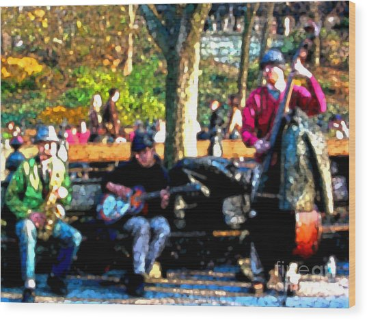 Musicians In Central Park Wood Print by Anne Ferguson