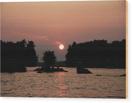 Muskoka Sunset Wood Print by Carolyn Reinhart
