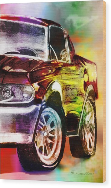 Mustang_2 Wood Print by Whitney Bruneau