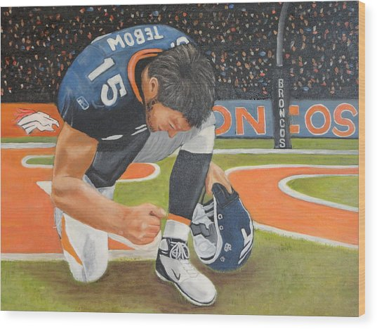 My Man Tebow Wood Print by Lynette Brown