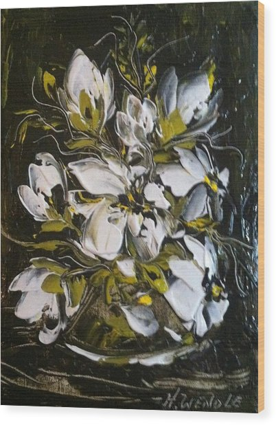 My White Roses Wood Print by Helen Wendle