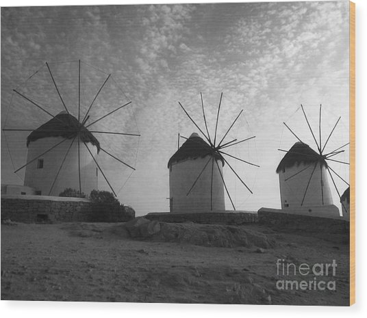 Mykonos Windmills Wood Print