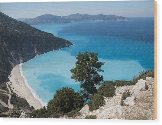 Myrtos Beach Kefalonia Wood Print