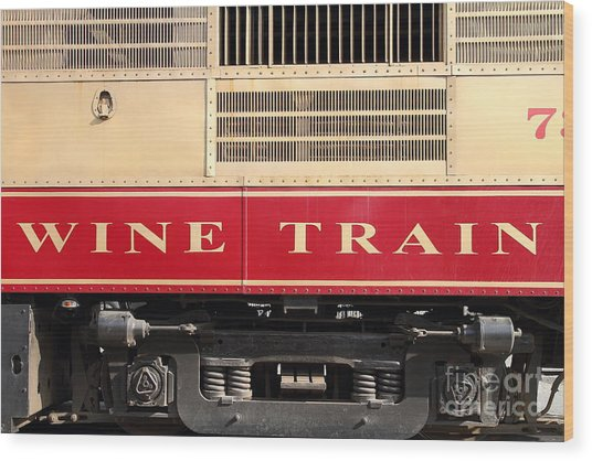 Napa Valley Railroad Wine Train In Napa California Wine Country . 7d8988 Wood Print by Wingsdomain Art and Photography