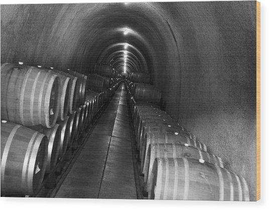 Napa Wine Barrels In Cellar Wood Print