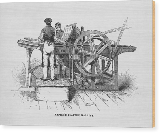 Napier's Printing Machine Wood Print by Science, Industry & Business Librarynew York Public Library