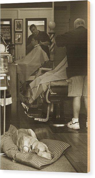 Napping At The Barbershop Wood Print