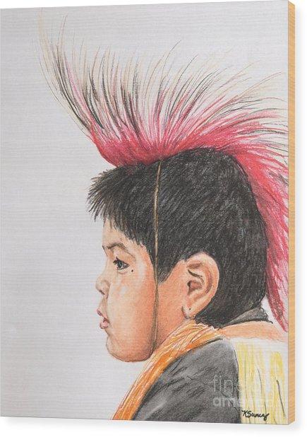 Native American Boy With Headdress Wood Print