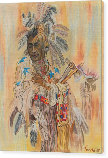Native American Colored Pencil Rendition Of A Larry Fanning Oil Painting Wood Print by The Nothing Machine Ink