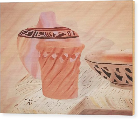 Native American Pottery Wood Print by Alanna Hug-McAnnally