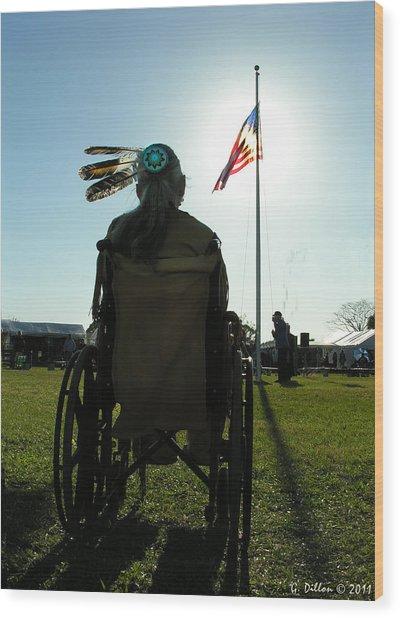 Native American Veteran In Wheel Chair Wood Print