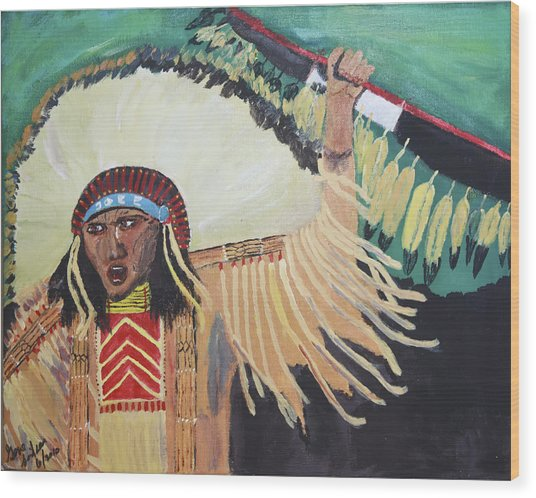 Native American Warrior Wood Print