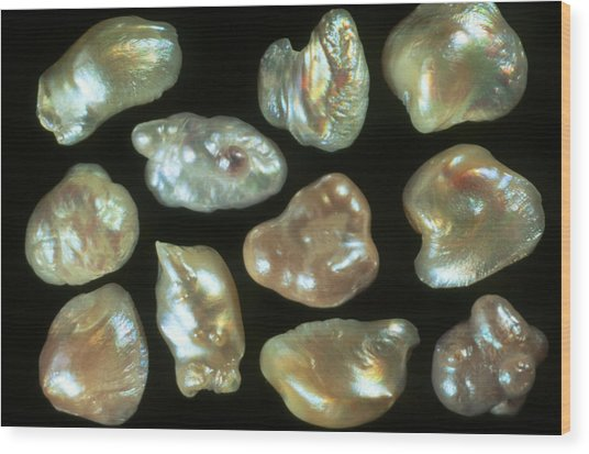 Natural Freshwater Pearls Wood Print