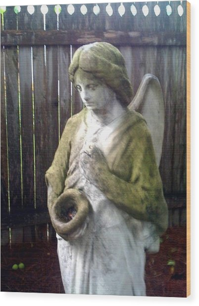Nature Angel Wood Print by Rebecca Poole