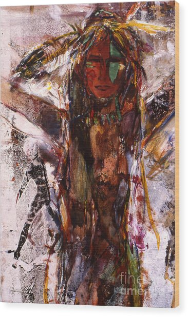 Naughty Lady Of Santa Fe Wood Print by Charles B Mitchell