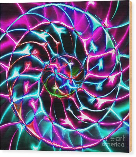 Nautilus Shell Ying And Yang - Electric - V2 - Violet Wood Print by Wingsdomain Art and Photography