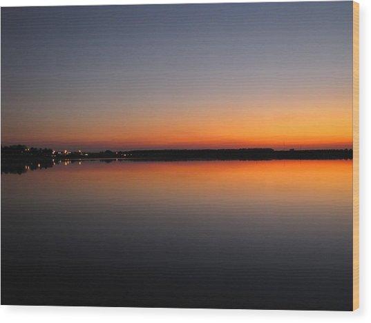 Navy Orange Sunset Wood Print