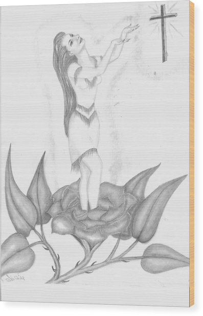Ndn Flower Girl Wood Print by Janie Gill