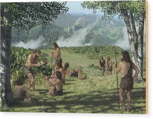 Neanderthals In Summer, Artwork Wood Print by Mauricio Anton