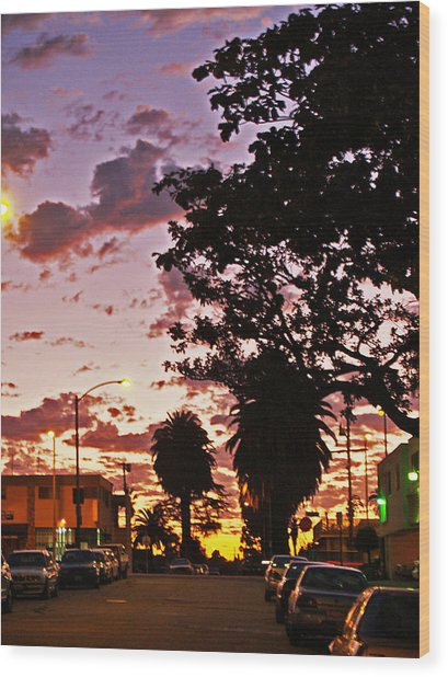 Neighborhood Silhouette  Wood Print by D Wash
