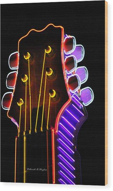 Neon Bridge Wood Print