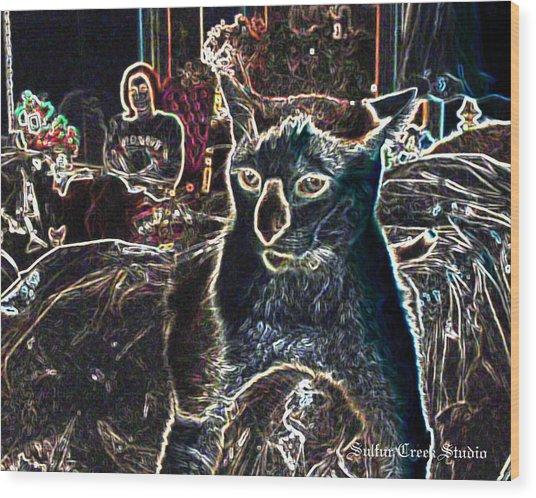 Neon Cat Wood Print by Sulfur Creek Studio