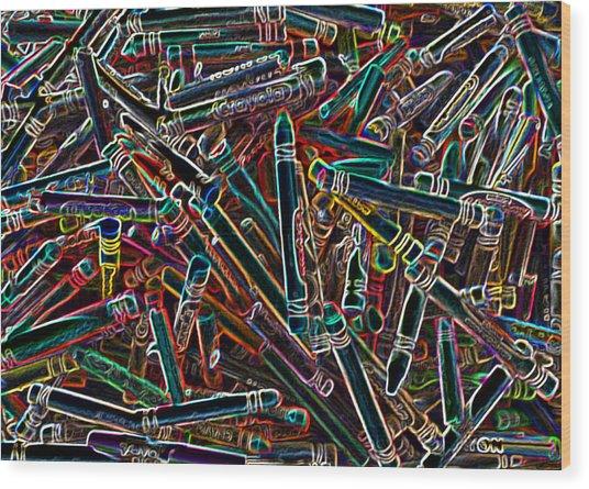 Neon Crayons Wood Print by Bernadette Kazmarski