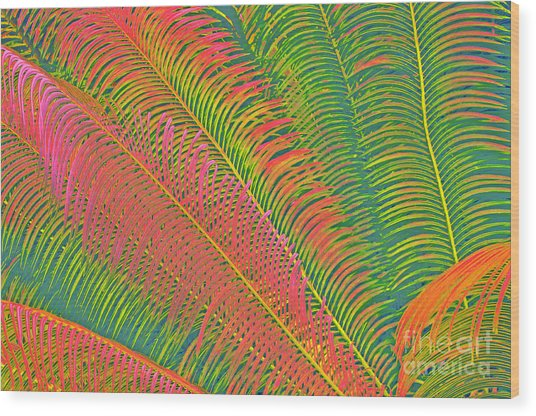 Neon Palm Abstract Wood Print