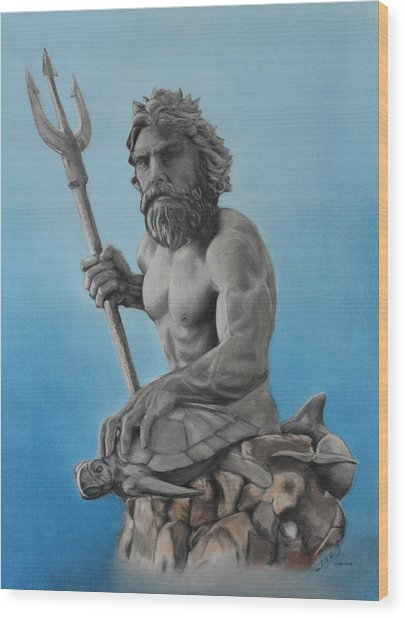 Neptune Wood Print by Miguel Rodriguez